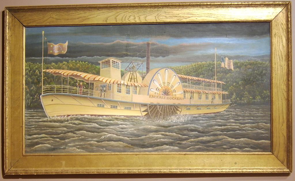 "Signed folk art painting of a Sidewheeler or Paddle Steamer ""Knockerbocker"""