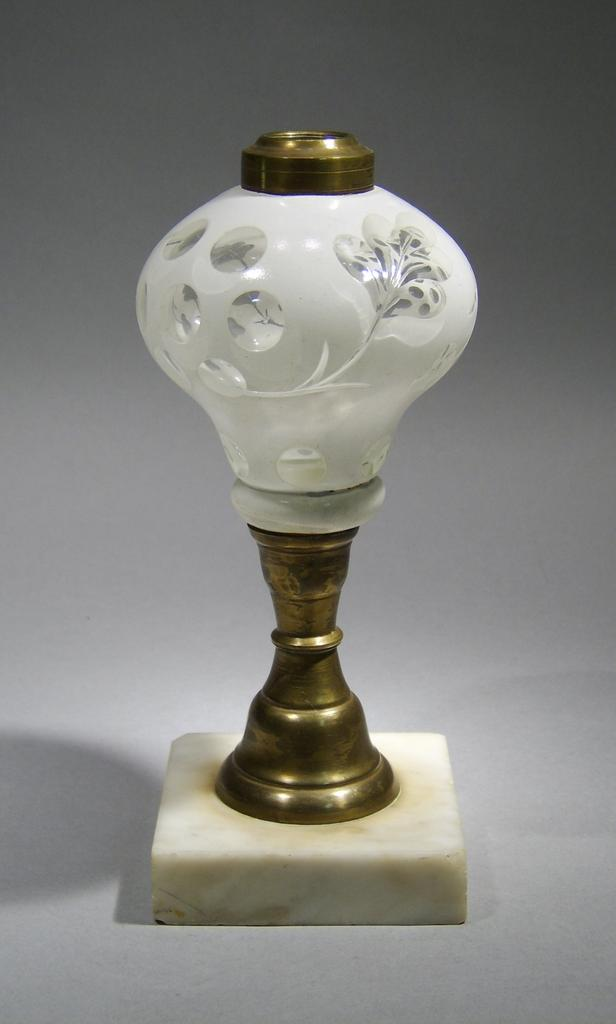 19th c. White Cut-to-Clear Overlay Glass Whale Oil Lamp