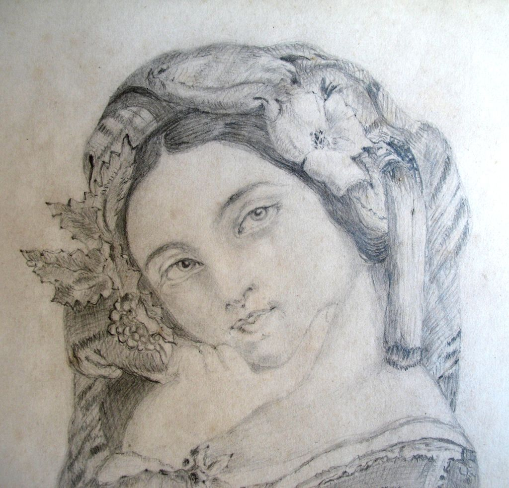 Antique English Drawing Aristocratic Lady Portrait19th C Century Signed FABULOUS!