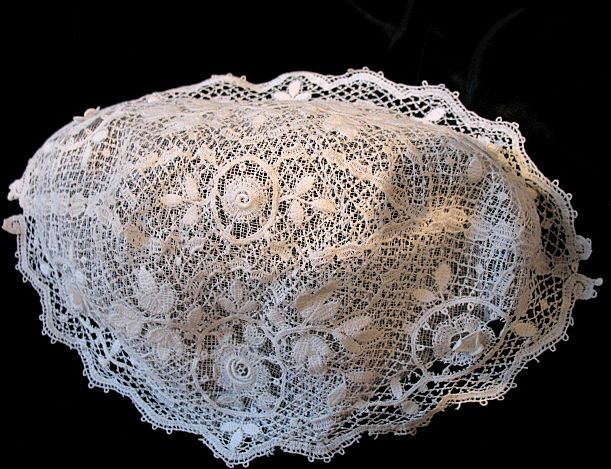 Antique 19th C Century VICTORIAN Country French LACE Bonnet EXQUISITE!