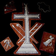 Antique 19th C Century Napoleon III Set of 5 RELIGIOUS Metallic Embroideries Embroidered CROSS & Symbols WOW!