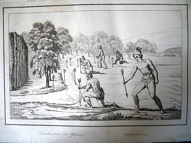 Antique 19th C Century Engraving Print NATIVE Florida Indians Declaring War Very RARE!