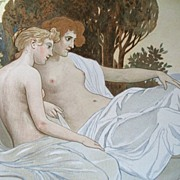 Antique 19th C GERMAN Austrian Art NOUVEAU ROSSLER  Litho Print NUDE Ladies in Landscape WOW!