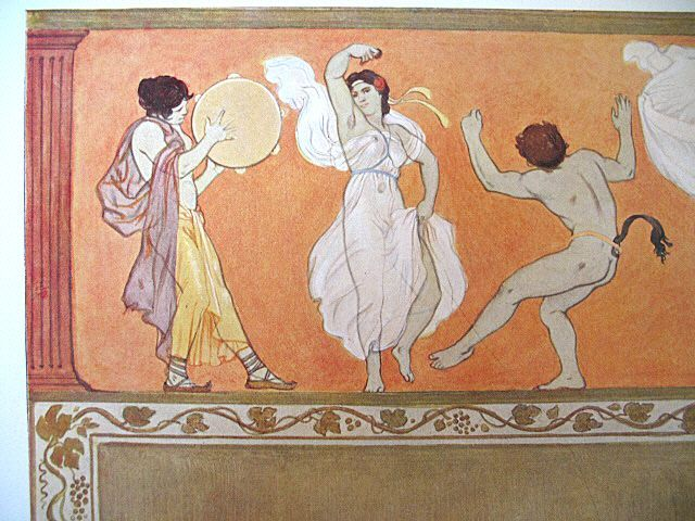 Antique Art NOUVEAU Print Lithograph 19th C Century German Max COLOMBO Greek Dance Signed WOW