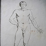 Antique 18th C Century LISTED Artist COCHIN Print/Engraving Very HANDSOME NUDE Male!