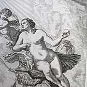 Antique 17th C Century NUDE Small Print/Engraving Venus Holding Apple with Cupid/Putti After Lairesse WOW!