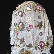 Antique 18th C Century Embroidered Woman Half Bonnet METALLIC Motifs EXTRAORDINARY!
