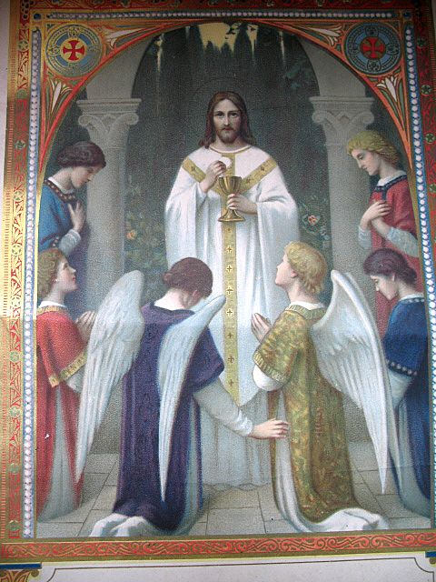 Antique French Art NOUVEAU Communion Certificate Print Litho JESUS with ANGELS Exquisite!