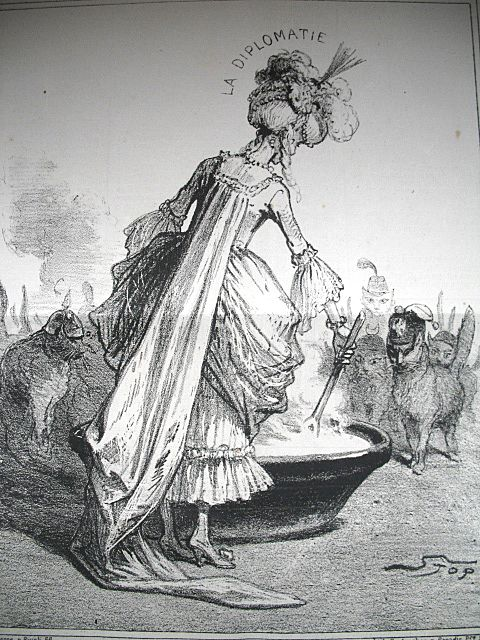Antique 19th C Century FRENCH Print Lady DIPLOMACY Feeding the Foreign CATS Signed FANTASTIC!