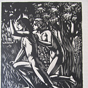 Vintage Drouart LISTED French ART DECO 20s Print/Woodcut NUDES in Forest Signed WOW!