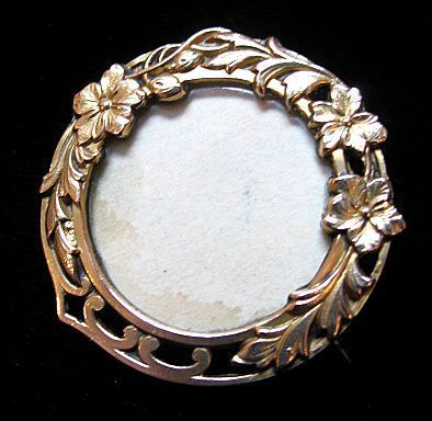 Antique 19th C Century French Art NOUVEAU Pin/Brooch Photo Locket Gold Filled ADORABLE!