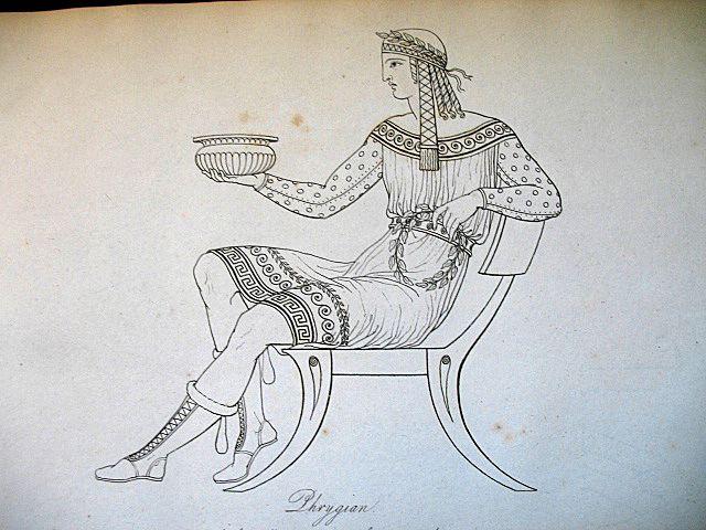 Antique REGENCY Thomas HOPE Museum 19th C Century Print Engraving HANDSOME Greek Male TO DIE FOR!
