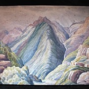 Antique 19th C Century English PRE RAPHAELITE Watercolor Painting of Pyrenees Mountains Very RARE!