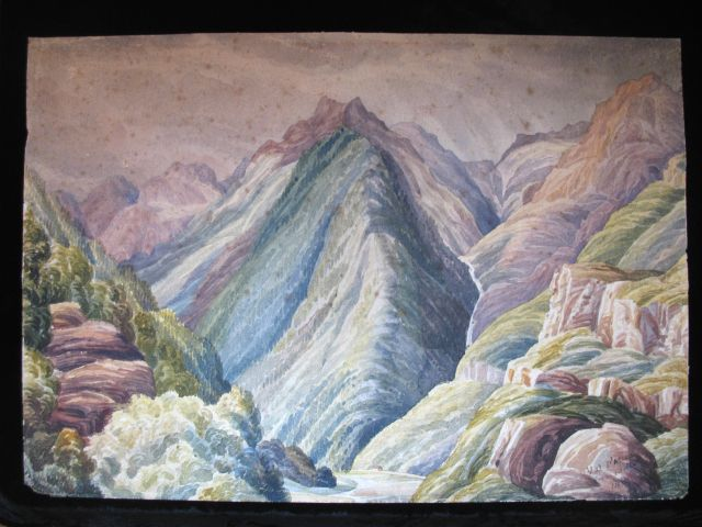 Antique 19th Century PRE RAPHAELITE Watercolor Painting Pyrenees Mountains Very RARE!