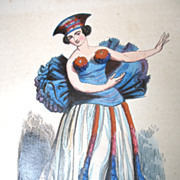 Antique 19th C Century French Victorian Print Litho with Watercolor PACIFIC Islands Tahiti Woman DANCER SIgned Very RARE!