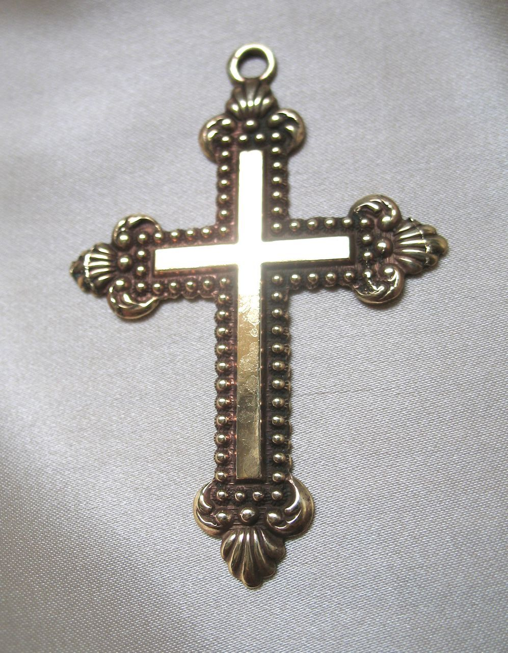 Antique French LARGE Victorian Napoleon III Ornate Cross Gold Filled 19th C Century EXQUISITE!