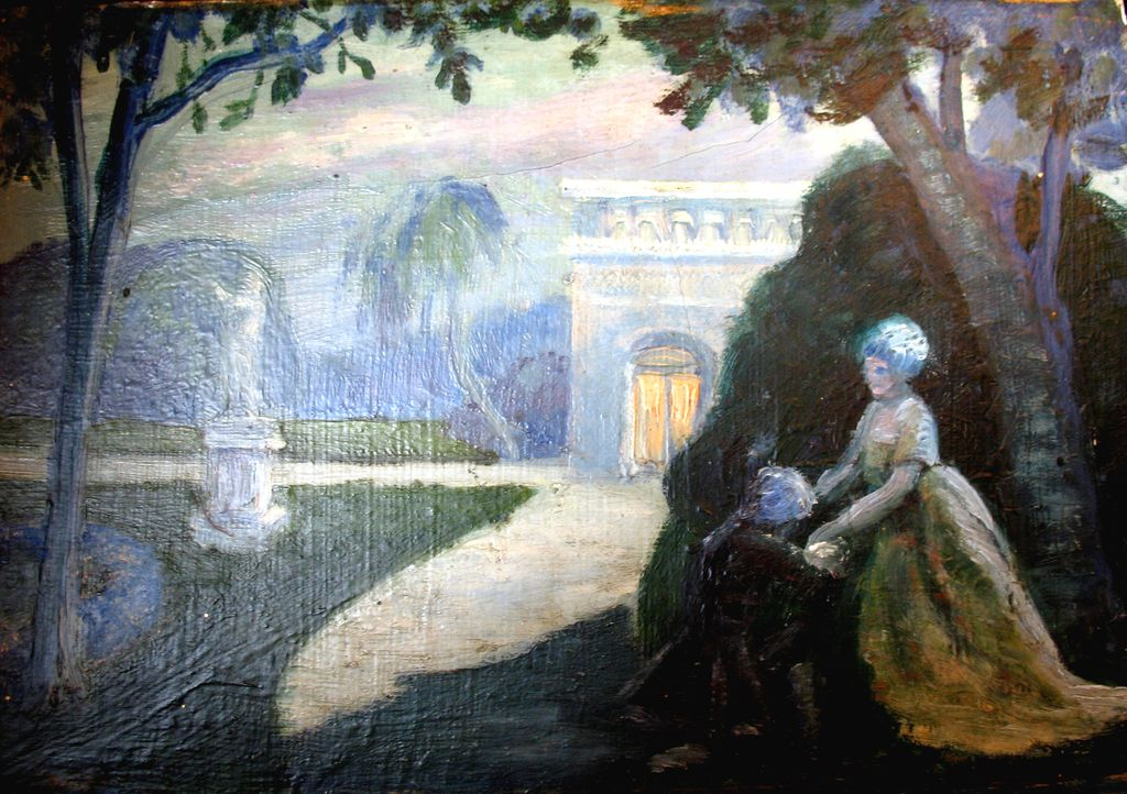 Vintage 20s French ART DECO Oil Painting Lovers in Moonlit Garden Signed TO DIE FOR!
