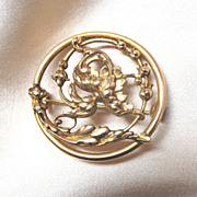 Antique French Art NOUVEAU  Pin Brooch FLORAL Openwork 19th C Century EXQUISITE!