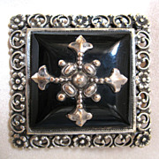 Antique French Edwardian Mourning Pin Brooch With Cross Faux Onyx Large Ornate Men Women STUNNING