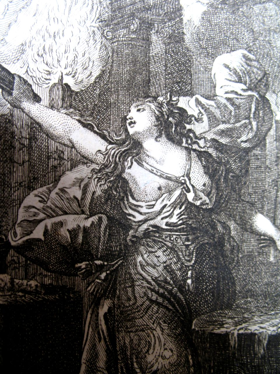 Antique 18th C Century French Print Engraving Medea After