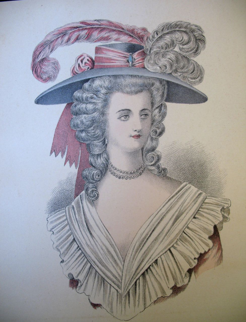Antique French Print Lithograph Watercolor 19th C Century Louis XVI Marie Antoinette Portrait MAGNIFICENT