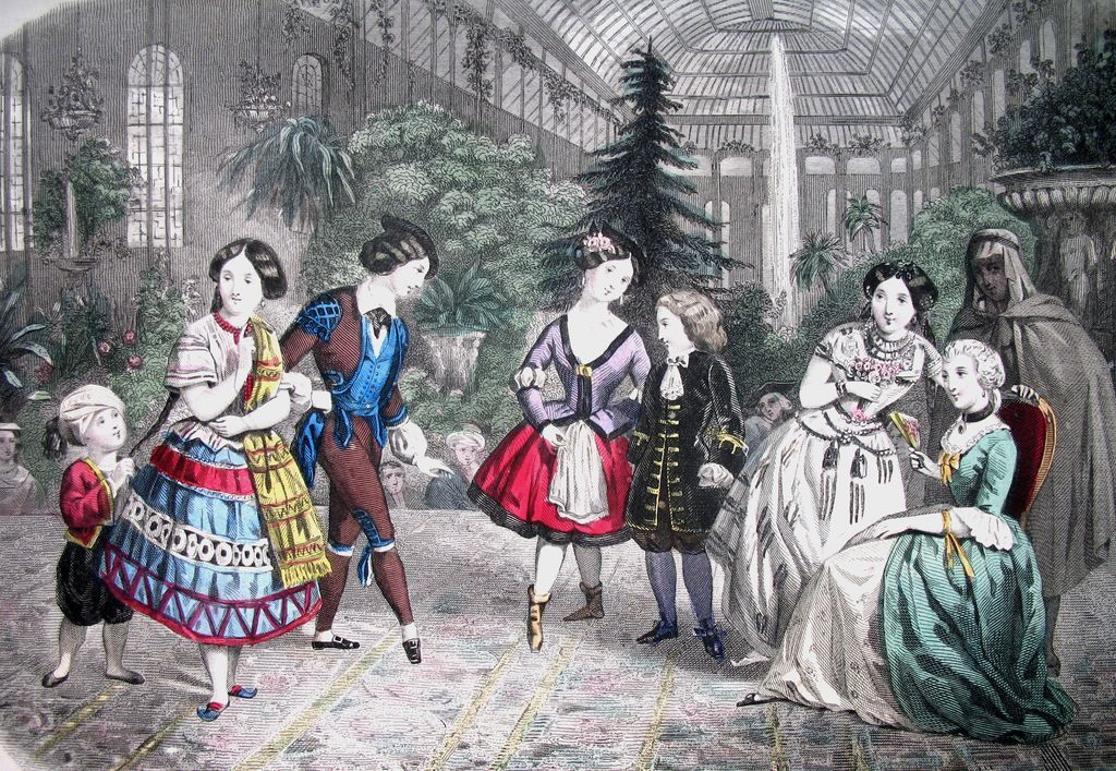 Antique French Victorian Print Litho With Watercolor Children in Mardi Gras Costumes 19th C Century Signed Dated TO DIE FOR!