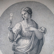 Antique Charcoal Drawing FRENCH Empire 1810s Lady FAITH BEAUTIFUL!