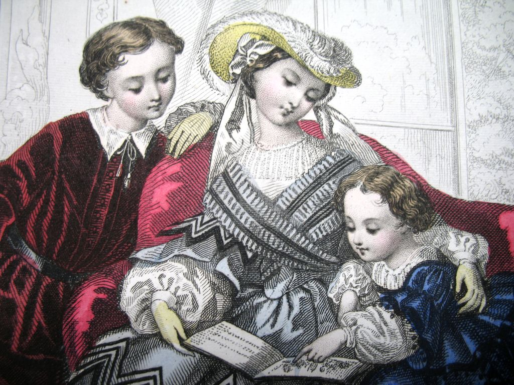 Antique French Victorian Print Litho With Watercolor Children in Vibrant Costumes Signed DIVINE!