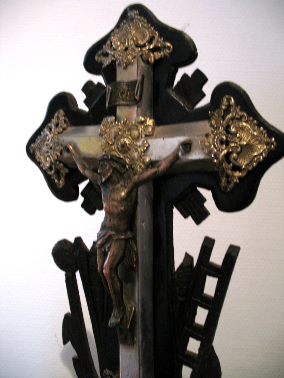 Antique French Crucifix Cross Napoleon III 19th C Century Ornate And BEAUTIFUL!