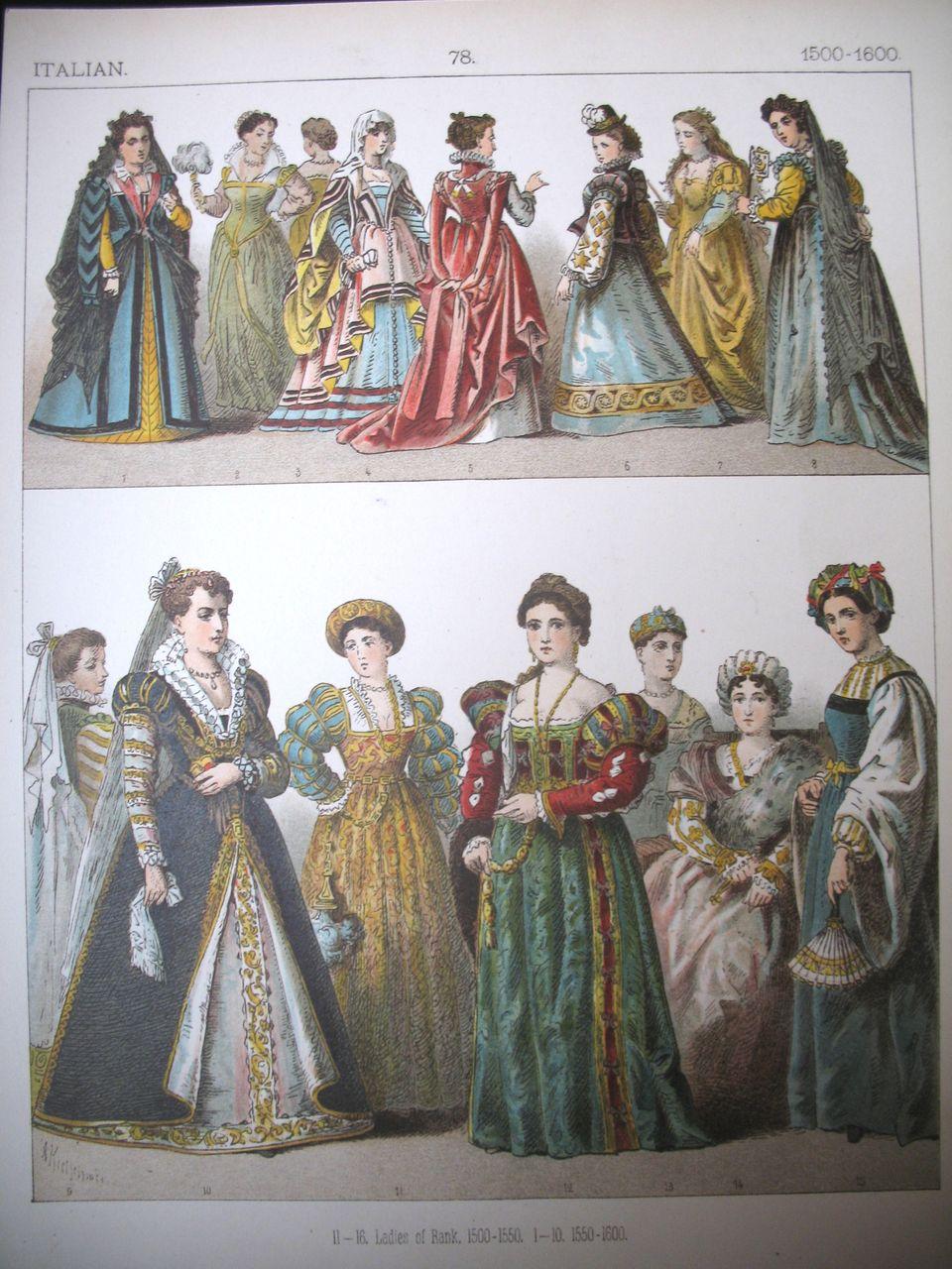 Antique Victorian Print Lithograph Italian Renaissance
