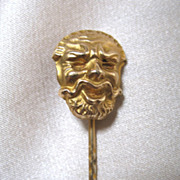 Antique French EDWARDIAN Gold Filled Fun HEAD Stick Pin Stickpin RARE!