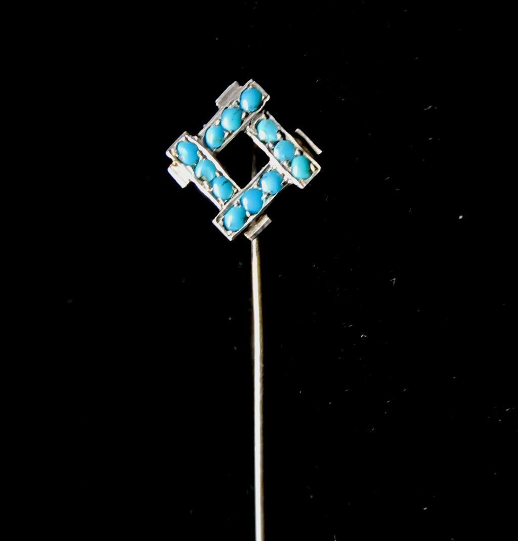 Antique French Edwardian Stickpin Silver Stick pin BEAUTIFUL TURQUOISES!