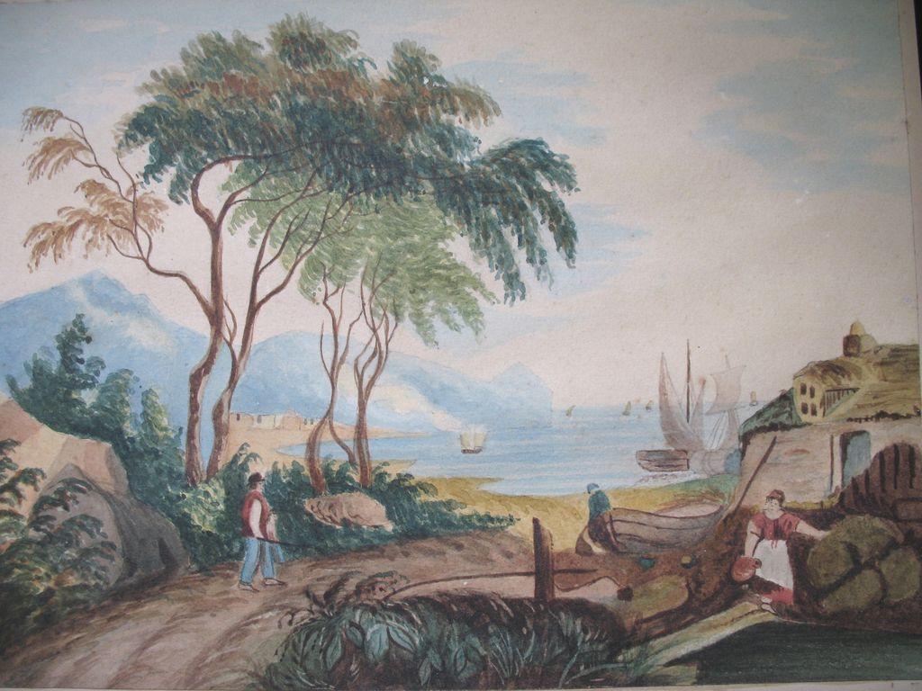 Antique Victorian ITALIAN Watercolor Painting Coastal Village Landscape 19th C Century VERY Poetic!