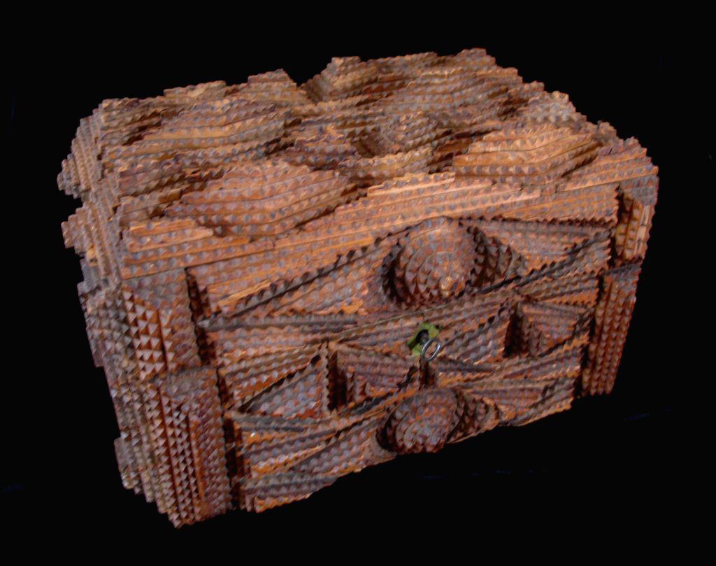 Antique Black Forest TRAMP Art Box 19th C Century PINK Velvet Key FANTASTIC!