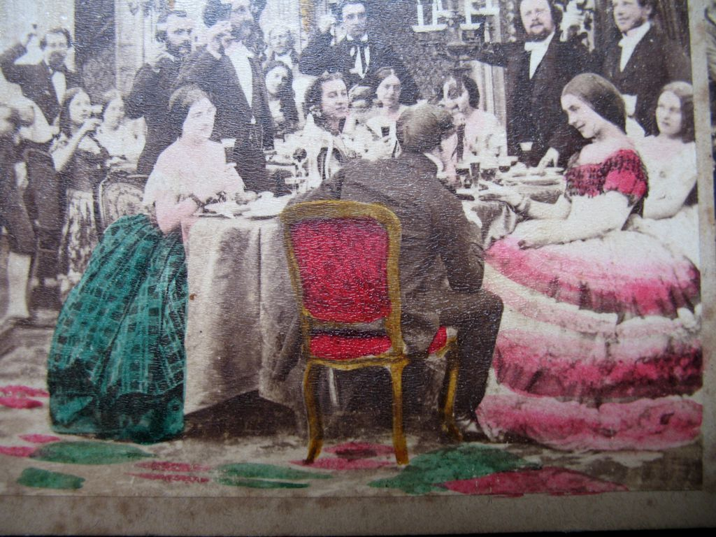 Antique French VICTORIAN 1870 Photo Dinner Scene Napoleon III ORIGINAL Colors!