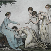 Antique French EMPIRE Print With Watercolor 19th C Century LADIES Game Signed Very RARE!