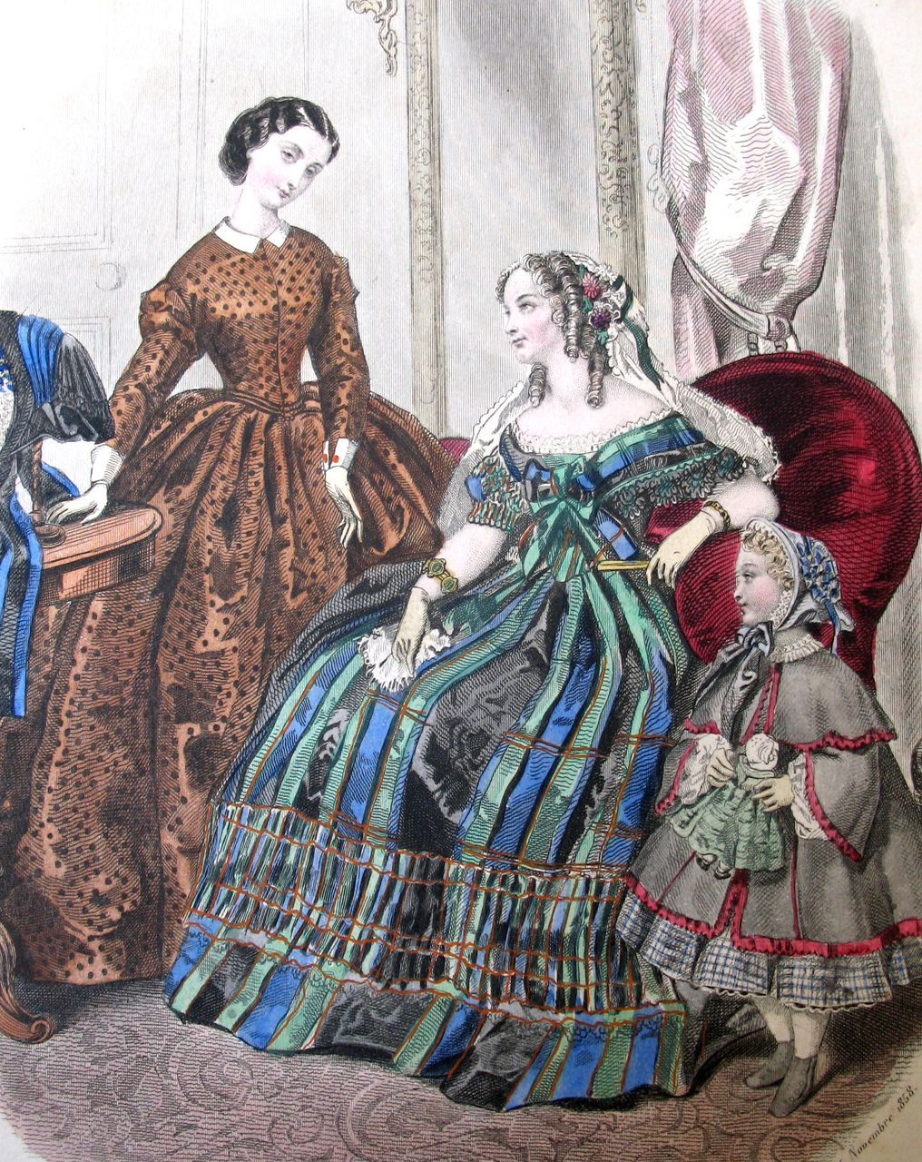 Antique French VICTORIAN Print Engraving With Watercolor LADY Buying Hat Signed MAGNIFICENT Colors!