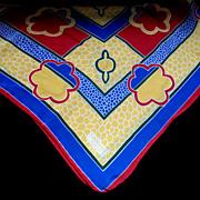 Vintage LANVIN Silk Scarf Signed Square Primary Colors Very ELEGANT!