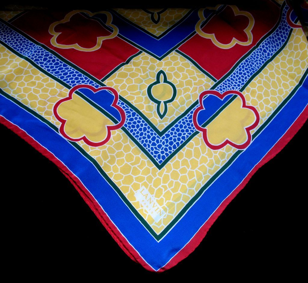 Vintage LANVIN Silk Scarf Signed Square Primary Colors Very ELEGANT!