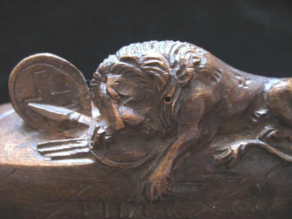 Antique VICTORIAN Swiss Carving Sculpture Small Luzern LION 19th C Century EXQUISITE!