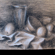 RESERVED French STILL LIFE Chartcoal Drawing Fruit Cups Signed Simply AMAZING!