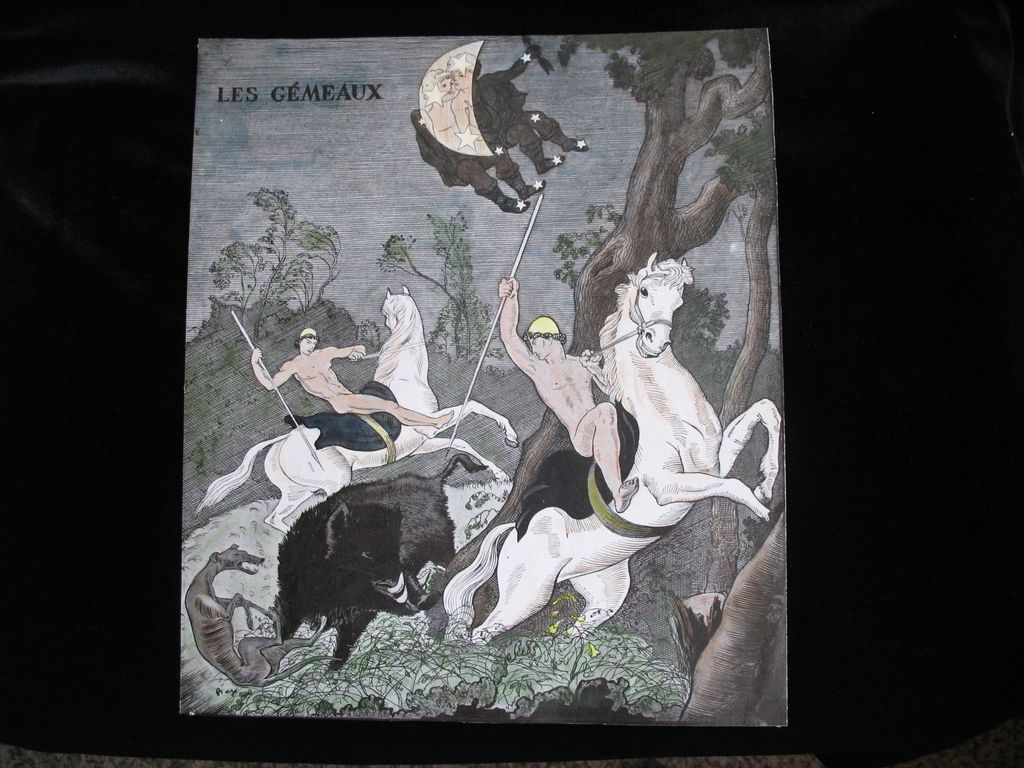 Vintage Art Deco Print Pochoir FRENCH Handsome Nude Males GEMINI Paul Bazé LISTED!