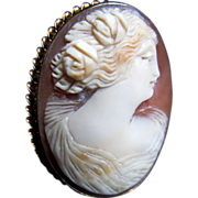 Antique Edwardian 10k Cameo GREEK Goddess 9 gr Pendant Pin Brooch Massive Gold Setting DIVINE!