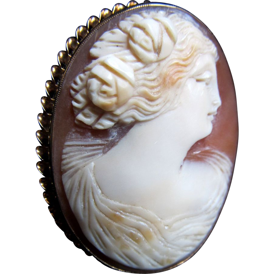 Antique Edwardian 10k Cameo GREEK Goddess 9 gr Pendant Pin Brooch Massive Gold Setting DIVINE!