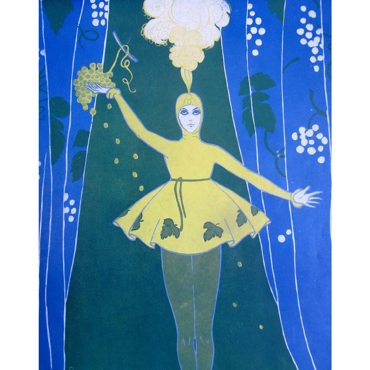 Vintage French Art DECO Print 1916 Portrait of ISADORA Signed FANTASTIC!