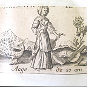 Antique Set of Four 16th C Century FRENCH Prints Engravings LIFE of a WOMAN Very RARE!