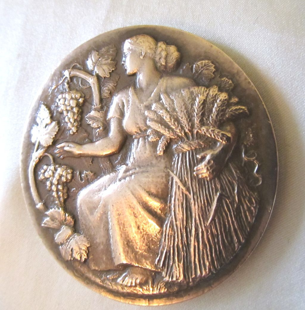 Vintage French Art DECO Large Heavy Bronze Medal Woman Science Agriculture SIGNED FANTASTIC!