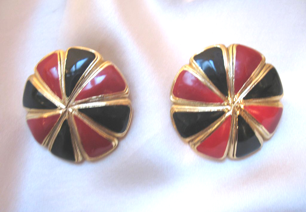 Vintage BALENCIAGA ENAMEL Clip Earrings Red And Black Large Signed RARE!
