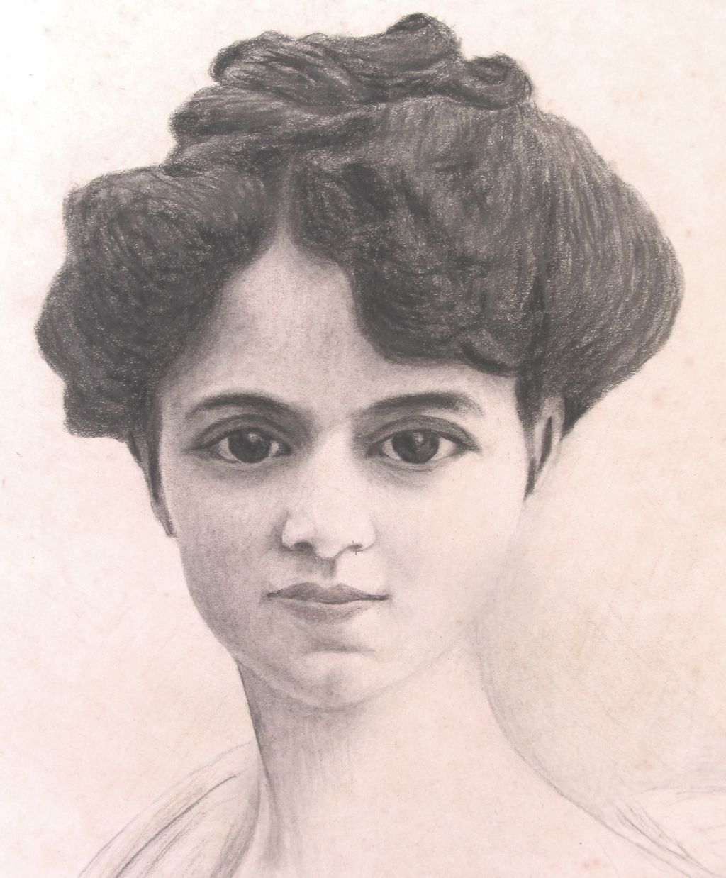Antique Drawing French EDWARDIAN Charcoal Portrait Signed Dated DIVINE!