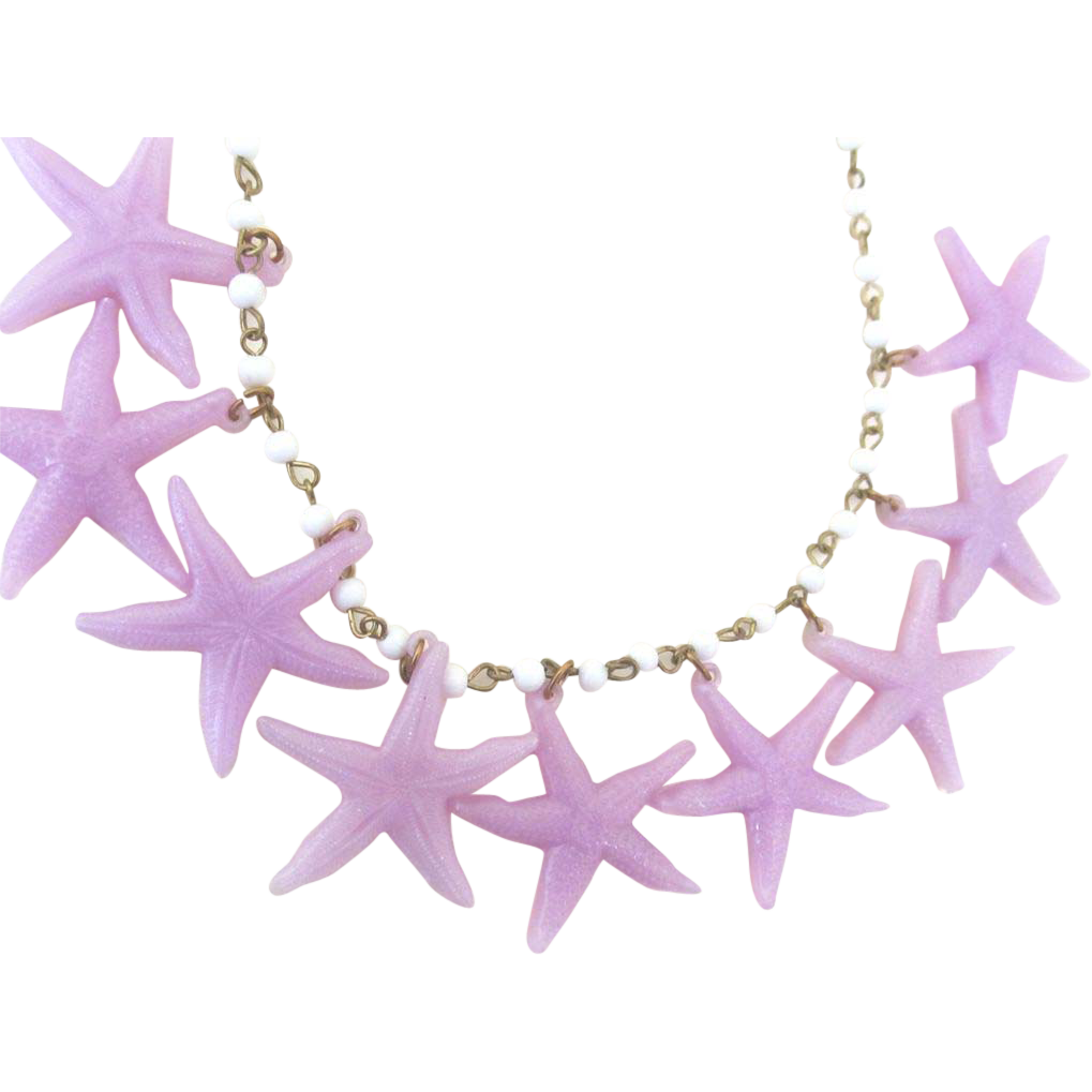 Vintage 1960s Animal Necklace STARFISH Purple Mauve Plastic And Glass Beads RARE!